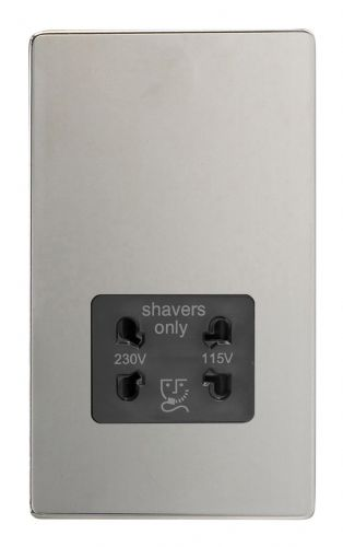 Varilight XDCSSBS Screwless Polished Chrome Dual Voltage Shaver Socket 240V/115V